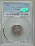 Coins of Hawaii , 1883 10C Hawaii Ten Cents XF40 PCGS. CAC. PCGS Population:(93/464). NGC Census: (47/308). CDN: $175 Whsle. Bid for problem...