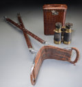 Decorative Arts, American, Two Alligator Leather Field Accessories: Binoculars and Case,Shooting Frame, 20th century. 33 inches high (83.8 cm)...(Total: 2 Items)