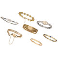 Estate Jewelry:Bracelets, Synthetic Sapphire, Glass, Gold, Yellow Metal Bracelets . ...(Total: 7 Items)