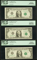Error Notes:Shifted Third Printing, Shifted Third Printing Error Fr. 1909-K $1 1977 Federal Reserve Note Including Two Bookends. PCGS Choice New 63PPQ-Very Choice... (Total: 3 notes)