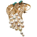 Estate Jewelry:Brooches - Pins, Turquoise, Cultured Pearl, Gold Brooch . ...