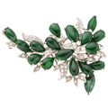 Estate Jewelry:Brooches - Pins, Diamond, Jade, White Gold Brooch . ...