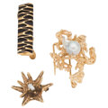 Estate Jewelry:Brooches - Pins, Freshwater Cultured Pearl, Gold Jewelry . ... (Total: 3 Items)