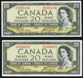 Canadian Currency: , BC-33a $20 1954 Devil's Face.. ... (Total: 2 notes)