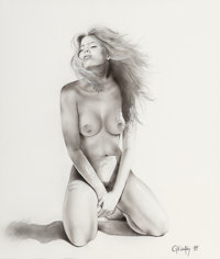 Gennadiy Koufay (Russian, b. 1961) Nude, 1998 Inkwash on paper 16 x 13.75 in. (sight) Signed a