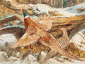 Mainstream Illustration, Victor Olson (American, 1924-2007). Pheasants. Gouache onboard. 19 x 25 in. (sight). Signed lower right. ...