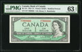 Canadian Currency: , 7000000 Serial Number BC-37c $1 1954.. ...