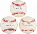 Autographs:Baseballs, Warren Spahn Single Signed Baseball Trio (3). ...