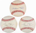 Autographs:Baseballs, Willie Mays Single Signed Baseballs Lot of 3. ...