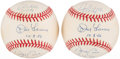 Autographs:Baseballs, New York Yankees Perfect Game Pitchers Multi-Signed Baseballs Lot of 2 - Larsen, Wells, & Cone. ...