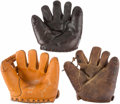 Baseball Collectibles:Others, Vintage Store Model Gloves Lot of 3 - Hornsby, Brown and Doak....