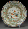 Asian:China Trade, A Chinese Export Rose Medallion Porcelain 'Chicken and Rooster' Charger. 2-1/4 inches high x 16-1/8 inches diameter (5.7 x 4...