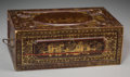 Asian, A Chinoiserie Lacquered Campaign Desk, 19th century. 5 h x 13 w x8-1/4 d inches (12.7 x 33.0 x 21.0 cm). ...
