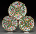 Asian:China Trade, A Group of Three Chinese Export Rose Medallion Plates with RuffledRims. 8-3/4 inches diameter (22.2 cm) (largest). ... (Total: 3Items)