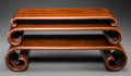 Asian:Chinese, Three Chinese Rosewood Stands. 3-3/4 h x 17-1/2 w x 8-1/2 d inches(9.5 x 44.5 x 21.6 cm)(largest). ... (Total: 3 Items)