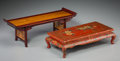 Asian:Chinese, Two Chinese Miniature Table-Form Stands. 4-3/4 h x 14 w x 4-3/4 dinches (12.1 x 35.6 x 12.1 cm). ... (Total: 2 Items)