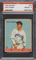 Baseball Cards:Singles (1930-1939), 1933 Goudey Jack Quinn #78 PSA NM-MT 8 - None Higher....