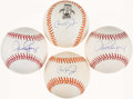 Autographs:Baseballs, Cal Ripken Jr. and Alex Rodriguez Single Signed Baseballs Lot of 4....