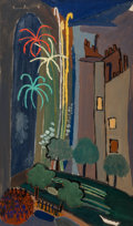 Fine Art - Painting, European, Suzanne Roger (French, 1899-1999). Le feu d'artifice. Oil oncanvas. 22 x 13-1/2 inches (55.9 x 34.3 cm). Signed upper l...