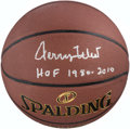"""Basketball Collectibles:Balls, Jerry West Single Signed Basketball with """"HOF 1980, 2010""""Inscription...."""