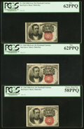 Fractional Currency:Fifth Issue, Fr. 1266 10¢ Fifth Issue PCGS New 62PPQ (2); Choice About New58PPQ.. ... (Total: 3 notes)