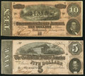 Confederate Notes:Group Lots, T68 $10 1864 PF-44 Cr. 552;. T69 $5 1864 PF-11 Cr. 565.. ...(Total: 2 notes)
