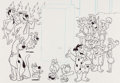 Animation Art:Production Drawing, Fred Flintstone and Friends Advertising Illustration(Hanna-Barbera, c. 1990s)....