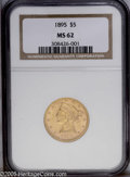 Liberty Half Eagles: , 1895 $5 MS62 NGC. PCGS Population (676/475). NGC Census:(1394/1077). Mintage: 1,345,936. Numismedia Wsl. Price:$330.(#839...