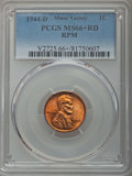 Lincoln Cents, 1944-D 1C Repunched Mintmark MS66+ Red PCGS. PCGS Population: (2663/324 and 48/33+). NGC Census: (2415/992 and 0/4+). Mint...