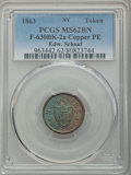 Civil War Merchants, 1863 Edw. Schaaf Civil War Merchant Token, Fuld-630BK-2a, MS62Brown PCGS. Copper PE....