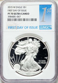 Modern Bullion Coins, 2015-W $1 Silver Eagle, First Day of Issue PR70 Ultra Cameo NGC. NGC Census: (0). PCGS Population: (5562)....