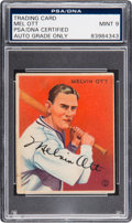 Baseball Collectibles:Others, 1933 Goudey Melvin Ott #207 Signed, PSA/DNA Mint 9....