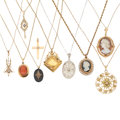 Estate Jewelry:Necklaces, Diamond, Multi-Stone, Seed Pearl, Cultured Pearl, Gold, YellowMetal Pendant-Necklaces . ... (Total: 9 Items)