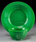 Asian:Chinese, A Chinese Green Peking Glass Bowl and Dish. 8 inches diameter (20.3cm) (dish). ... (Total: 2 Items)