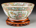 Asian:China Trade, A Large Chinese Export Rose Medallion Porcelain Punch Bowl withStand. 5 inches high x 11-5/8 inches diameter (12.7 x 29.5 c...(Total: 2 Items)