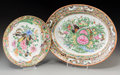 Asian:China Trade, Two Chinese Canton Rose Porcelain Dishes. 12 inches long (30.5 cm) (larger). ... (Total: 2 Items)