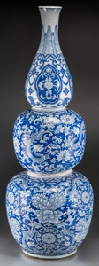 Asian:Chinese, A Monumental Chinese Blue and White Triple Gourd Vase, QingDynasty, Kangxi Period, circa 1662-1722. 40-1/8 inches high (101...