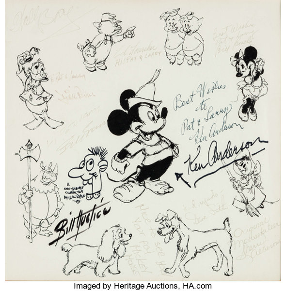 Mickey Mouse and Disney Character Autographed Print (Walt | Lot ...