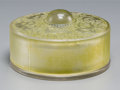 Art Glass:Lalique, R. Lalique Clear Glass Chantilly Box with Light GreenPatina. Circa 1924. Molded R LALIQUE. M p. 234, No. 62....