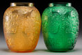 Art Glass:Lalique, Pair of Lalique Green and Amber Glass Biches Vases.Post-1945. Engraved Lalique, France. Ht. 6-3/4 in.. ...(Total: 2 Items)