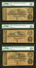 Confederate Notes:1864 Issues, T69 $5 1864 Three Examples.. ... (Total: 3 notes)