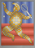 Fine Art - Work on Paper:Print, Victor Vasarely (1906-1997)Tennis Player