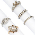 Estate Jewelry:Rings, Diamond, White Gold Rings . ... (Total: 5 Items)