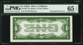 Error Notes:Inverted Reverses, Fr. 1601 $1 1928A Silver Certificate. PMG Gem Uncirculated 65 EPQ.....