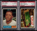 Basketball Cards:Lots, 1961 Topps Willie Mays and Mantle Blasts HR PSA Graded Pair (2)....