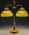 Art Glass:Tiffany , Tiffany Studios Damascene Favrile Glass and Bronze Double-StudentLamp. Circa 1900. Stamped TIFFANY STUDIOS, NEW YORK, 9908....(Total: 3 Items)