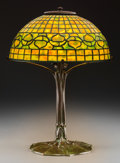 Art Glass:Tiffany , Tiffany Studios Favrile Glass and Bronze Acorn Table Lamp.On Penguin base. Circa 1910. Stamped: TIFFANY STU... (Total:3 Items)