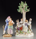 Ceramics & Porcelain, Two Meissen Porcelain Groups: Arbor Dancers, Lovers with Birdcage, late 19th-early 20th century. Marks: (crossed swo... (Total: 2 Items)