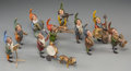 Decorative Arts, Continental:Other , An Eleven-Piece Austrian Cold-Painted Bronze Dwarf Band, circa1900. Marks: AUSTRIA, GESCHUTZ, (fleur de lis). 3-1/8 inc...(Total: 11 Items)