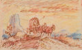 Fine Art - Work on Paper:Drawing, Fred Harman (American, 1902-1982). The Wagon Trail, 1972.Marker and colored pencil on paper. 4-3/4 x 7-3/4 inches (12.1...